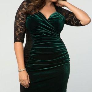 NWT Kiyonna Hourglass lace dress Green Black 2X